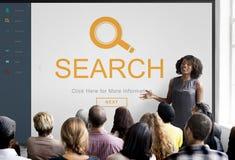 L'individuazione d'ingrandimento dell'esplorazione di ricerca passa in rassegna il concetto Immagini Stock Libere da Diritti