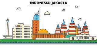 L'Indonésie, Jakarta Architecture d'horizon de ville editable illustration stock