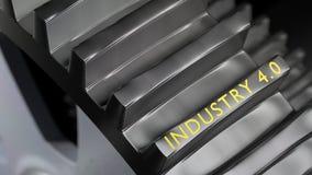 L'industria 4 di parole 0 su un ingranaggio gigante del metallo illustrazione di stock