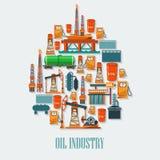 L'industria petrolifera ha messo con il petrolio del trasporto della raffineria dell'estrazione royalty illustrazione gratis
