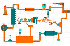 l'industriale lavora gli ingranaggi a macchina Fotografie Stock