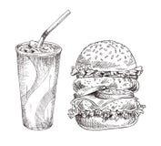 L'industrie graphique de boisson molle froide et d'hamburger énorme illustration stock