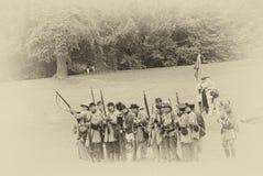 L'infanterie confédérée rayent allumer une décharge Photos stock