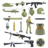 L'infanterie d'armée de métier force les objets réalistes d'Equipment Set Of d'armes, de transport et de soldat dans la couleur k Images libres de droits