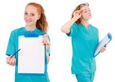 L'infermiere attento isolato su bianco Immagini Stock