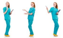 L'infermiere attento isolato su bianco Immagine Stock