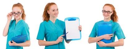 L'infermiere attento isolato su bianco Immagini Stock Libere da Diritti