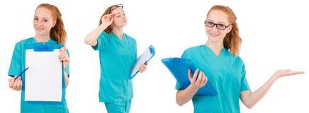 L'infermiere attento isolato su bianco Immagine Stock Libera da Diritti