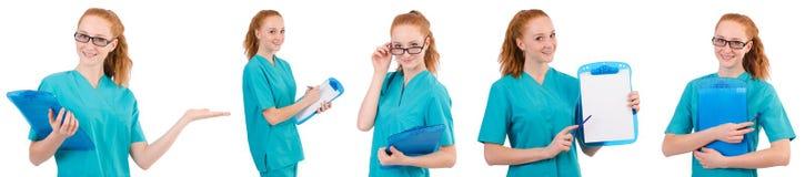 L'infermiere attento isolato su bianco Fotografia Stock