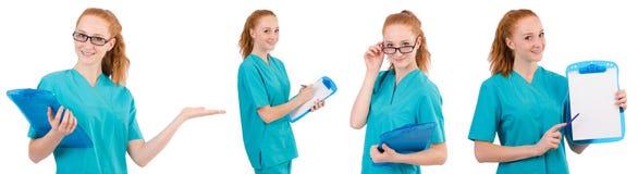 L'infermiere attento isolato su bianco Fotografie Stock Libere da Diritti