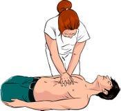 L'infermiere fa il pronto soccorso ad un uomo con attacco di cuore nella via Fotografie Stock
