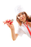 L'infirmière folle avec des tondeuses veut à disposition couper Images stock