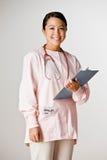l'infirmière frotte s'user de stéthoscope images stock