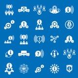 L'information analysant l'ensemble d'icône de thème de rassemblement et d'échange, Photographie stock