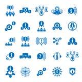 L'information analysant l'ensemble d'icône de thème de rassemblement et d'échange, Image libre de droits