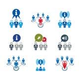 L'information analysant l'ensemble d'icône de thème de rassemblement et d'échange, Photographie stock libre de droits
