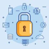 L'information de centre de traitement des données de sécurité accueillant la storage technology illustration de vecteur