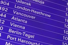 L'information de conseil de départs de vol d'aéroport Images libres de droits