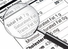 L'information de nutrition Image stock
