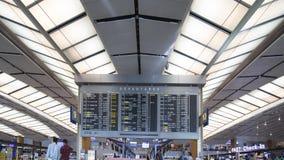 L'information de programme de vol de l'aéroport de Changi Image stock