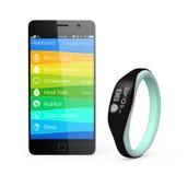 L'information de santé et de forme physique synchronisent du bracelet futé Image libre de droits