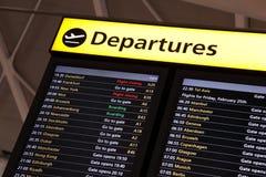 L'information de vol d'aéroport Photo stock