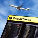 L'information de vol d'aéroport et départ d'avion Photo stock