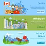 L'information de voyage de Canada 3 bannières plates illustration de vecteur