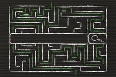 L'information et barre de surcharge, de labyrinthe et de moteur de recherche de données Photo libre de droits