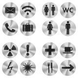 L'information se connecte autour de la plaque de métal Images libres de droits