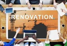 L'ingénierie de construction de bâtiments rénovent le concept de site photos stock
