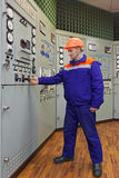 L'ingénieur met en marche la turbine Photo libre de droits