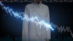 L'ingegnere femminile del ricercatore ha toccato lo schermo, i vari grafici animati ed i grafici del mercato azionario Faccia dim illustrazione vettoriale