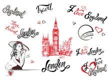 l'inghilterra Londra Insieme degli elementi per il disegno iscrizione Grande Ben Sketch Ragazza in un tè bevente del cappello Vet illustrazione vettoriale