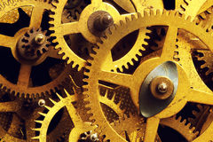 L'ingranaggio di lerciume, dente spinge il fondo Scienza industriale, movimento a orologeria, tecnologia Immagini Stock Libere da Diritti