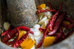 L'ingrediente di curry tailandese è nel mortaio Immagini Stock