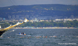 L'inizio della maratona di nuoto diGalata-Varna Immagini Stock
