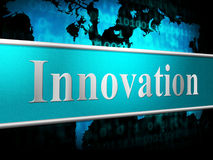 L'innovazione di idee indica le invenzioni e la creatività delle innovazioni Fotografie Stock Libere da Diritti