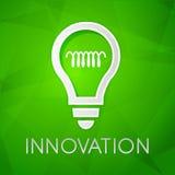 L'innovazione e la lampadina firmano, desig piano Fotografia Stock Libera da Diritti