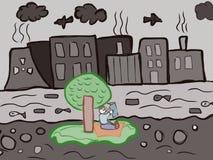 L'inquinamento della natura scherza il disegno artistico Fotografie Stock Libere da Diritti