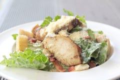 Insalata ceasar del pollo in un piatto bianco Fotografia Stock