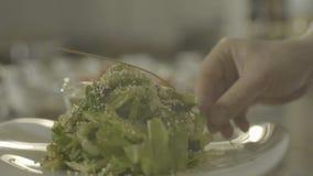 L'insalata dei frutti di mare con i gamberetti è servito sul piatto bianco, movimento lento video d archivio