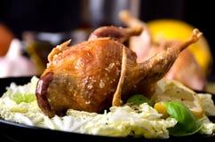 L'insalata dei gallinacei della quaglia lascia il sale del limone del basilico Fotografia Stock Libera da Diritti