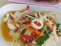 L'insalata della papaia è popolare in Tailandia Fotografia Stock Libera da Diritti