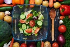 L'insalata della verdura fresca in un arco di vetro circondato nel telaio ha fatto la b Immagini Stock Libere da Diritti