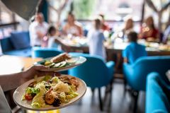 L'insalata di caesar succosa è portata per la tavola festiva immagine stock