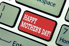 L'inscription apparence de note de la mère heureuse S est jour Célébration de présentation de photo d'affaires honorant des maman images libres de droits