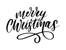 L'inscription calligraphique de Joyeux Noël a décoré marquer avec des lettres le texte illustration libre de droits