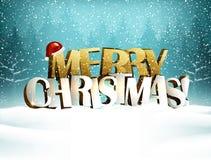 L'inscription de Joyeux Noël est dans le paysage neigeux de forêt d'hiver illustration libre de droits
