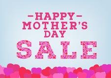 L'inscription heureuse de vente du jour de mère décorée du coeur forme sur le fond mou bleu Concept de vente du jour de mère illustration stock